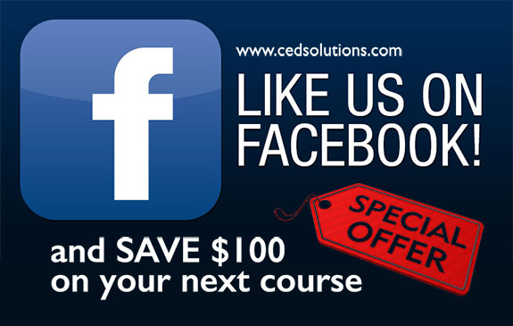 Like us on Facebook and SAVE $100 on your next course